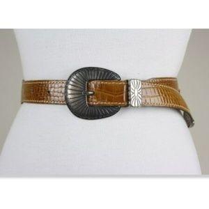 Vintage Landrex France Brown Croc Leather Belt S